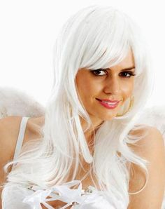 White Angel Long Costume Wig Sexy white layered long wig suitable for angel  costume or a a3c93dd4ed
