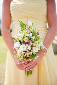 Butter Yellow Bridesmaid Dress with a Wildflower Bouquet | Weddings by Kara | See More! http://heyweddinglady.com/jazz-age-spring-wedding-in-ireland-by-weddings-by-kara/