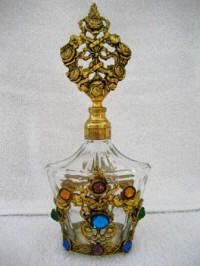 German Perfume Bottle with Multi Colored Jewels - 1920-1940