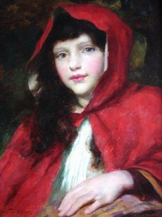Girl in a Red Hood by George Sheridan Knowles Grimm, Little Red Ridding Hood, Red Riding Hood, Illustrations, Illustration Art, Charles Perrault, Big Bad Wolf, Portraits, Romans