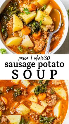 Hearty Soup Recipes, Spicy Recipes, Cooking Recipes, Healthy Recipes, Whole30 Soup Recipes, Paleo Soup, Recipes With Spicy Sausage, Potato Soup Recipes, Chicken And Kale Recipes