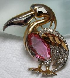 RARE~MARCEL BOUCHER PELICAN Pin- Rare Pink Rhinestone Jelly Belly Pin Brooch