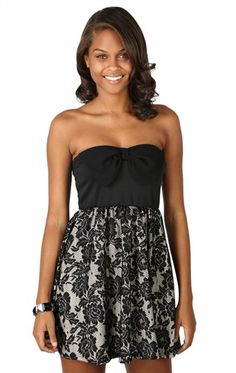 Deb Shops strapless #bow bodice with contrast #lace skirt $34.90