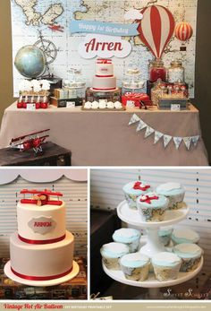 VINTAGE Hot Air Balloon Birthday Party Printable Set by Sweet Scarlet Designs. Styling by Styled By Belle.