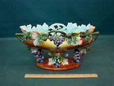 Large Antique Majolica Centerpiece Bowl Grapes As Is