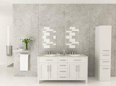 "72"" Boardwalk White Double Vanity with Carrera Marble Top - Round Sinks modern-bathroom-vanities-and-sink-consoles"