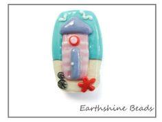 Beach Hut Handmade lampwork glass bead OOAK by Earthshinebeads, £11.95