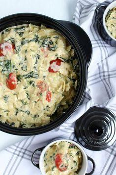 Rezepte mit Herz: Mac & Cheese Deluxe mit Spinat und Tomaten ♡