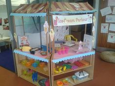 Ice cream parlour role play with play doh ice cream and glass gems. Dramatic Play Themes, Dramatic Play Area, Dramatic Play Centers, Ice Cream Parlour Role Play, Sharing A Shell, Play Corner, Reception Class, Role Play Areas, Pretend Play