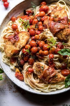 Prosciutto Chicken Parmesan With Garlic Butter Tomato Pasta. Chicken Parmesan Wrapped In Crispy Prosciutto Mixed With Garlic Butter And Herb Roasted Cherry Tomato Pasta. The End Of Summer Pasta Thats Cozy, Beautiful, And Beyond Delicious Cherry Tomato Pasta, Roasted Cherry Tomatoes, Cherry Tomato Recipes, Garlic Butter, Garlic Parmesan, Butter Chicken, Parmesan Recipes, Parmesan Noodles, Baked Chicken