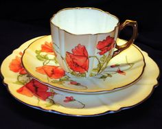 AYNSLEY ANTIQUE HP POPPY CREAM GOLD ORANGE PEACH TEA CUP AND SAUCER TRIO #AynsleychinaEngland