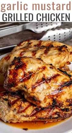 Grilled Garlic Mustard Chicken Is An Easy Chicken Marinade Recipe Made With Garlic, Mustard And Olive Oil. A Healthy And Low Carb Dinner Recipe Via Tastesoflizzyt Chicken Marinade Recipes, Easy Chicken Dinner Recipes, Chicken Marinades, Low Carb Dinner Recipes, Easy Healthy Recipes, Mustard Chicken Marinade, Recipe Chicken, Diet Recipes, Healthy Marinade For Chicken