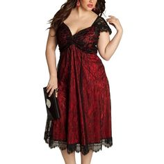 ZKESS Women's Lace Dress Plus Size Club Midi Dresses(FBA Optional) ($28) ❤ liked on Polyvore featuring dresses, womens plus size cocktail dresses, lace dress, plus size lace dress, plus size red cocktail dress and midi cocktail dress