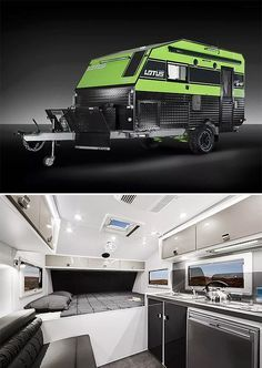 Options for off-road camping just keep getting better. The latest entry is Australia's Lotus Campers Off Grid model, a compact feet) merges a rugged exterior & off-road features with a luxurious and well-designed interior that features a modern kitche Off Road Camper Trailer, Camper Trailers, Travel Trailers, Kombi Motorhome, Campervan, Camping Survival, Camping Gear, Outdoor Survival, Camping Store