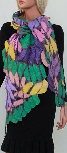 Long Felted Silk Scarf Nuno Felted Silk Scarf Wool Eco shawl Boho Fiber Art Wrap OOAK Spring Shawl Lavender Green Yellow Pink by RaisaFelt on Etsy
