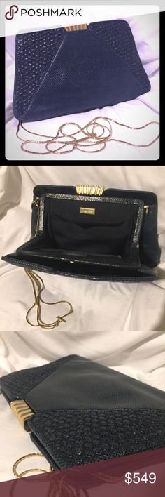 """Vintage Judith Leiber Snakeskin Navy Clutch Purse Vintage Judith Leiber Snakeskin Navy Clutch Purse. Great condition, minor markings on corners. Measures 12.5"""" x 7"""". Gold snap clasp and chain. A timeless collectors piece. Navy blue with a teal tone. Happy to answer questions, PLEASE ask! Smoke-free 🚫🚬; dog-friendly 🐶❤️ home. I ship same or next day! 📦 Judith Leiber Bags Clutches & Wristlets"""