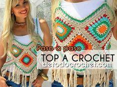 54 Trendy ideas for crochet paso a paso vestido Filet Crochet, Top Tejidos A Crochet, Crochet Mittens, Crochet Granny, Diy Crochet, Crochet Stitches, Crochet Baby, Crochet Top, Crochet Bikini