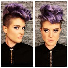 Kelly Osbourne shaved violet hair. Undercut.
