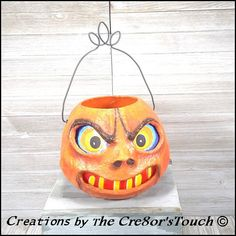 Halloween Vintage Styled OOAK Handmade JOL Pumpkin by Cre8orsTouch