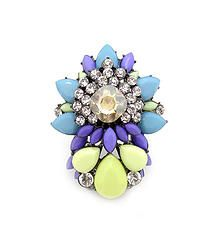 Bright Lights Yellow - Chunky statement ring featuring multilayer rhinestone gems  S/M/L fit