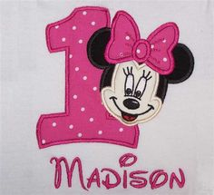 Personalized Custom Minnie Mouse Face Inspired Number (1st) Pink Dot Birthday PUFF Sleeve Shirt SHIPS FREE