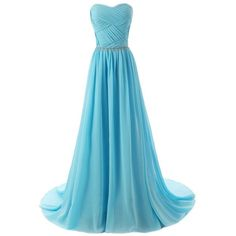 Aurora Bridal Sweetheart Bridesmaid Chiffon Prom Dresses Long Evening... ($59) ❤ liked on Polyvore featuring dresses, gowns, long evening dresses, long bridesmaid dresses, blue bridesmaid dresses, prom dresses and long evening gowns