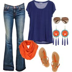 Navy & Orange - reminds me of a summer chic theme