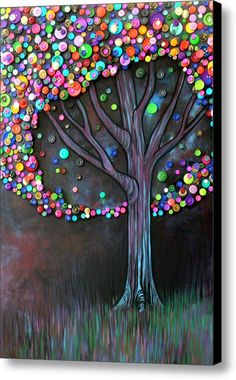 Button Tree 0006 Canvas Print / Canvas Art By Monica Furlow