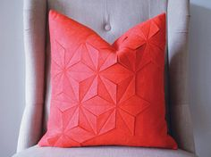 Geometric+Strawberry+Wool+Felt+18x18+Pillow+by+whitenest+on+Etsy,+$75.00