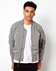 Gray Zip Sleeve Harrington Jacket | Fall / winter fitted ...
