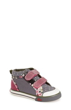 Free shipping and returns on See Kai Run 'Kya' High TopSneaker (Baby, Walker & Toddler) at Nordstrom.com. This sweet, sporty high-top will be an instant favorite, thanks to its appealing combination of floral trim, chambray and peppy polka dots at the padded collar.