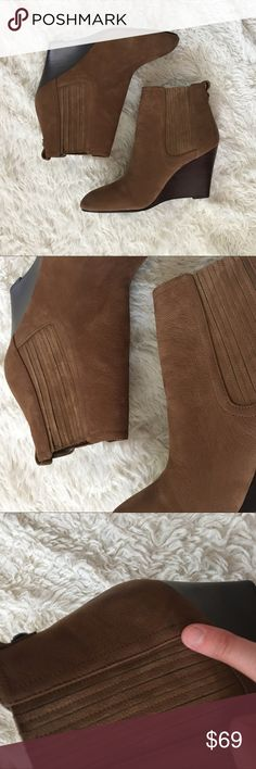 "✨NWOT✨SAM EDELMAN Wedge Booties ""Gillian"" by Sam Edelman. Brown/ Cognac Suede with stacked 3.5"" wedge heel. All offers welcome!! Sam Edelman Shoes Ankle Boots & Booties"