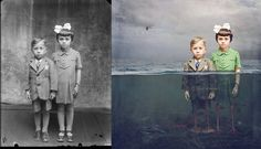 """""""Embaixo""""   Fotógrafa transforma fotos antigas em trabalhos de arte surreais"""