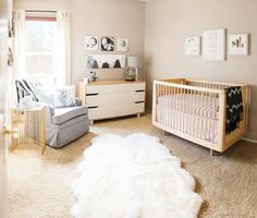 White and wood Nursery. IKEA dresser | Ten22 Studio on The TomKat Studio @shutterfly #shutterfly #shutterflydecor