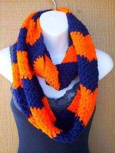 Broncos Inspired Blue & Orange Chevron Infinity Scarf on Etsy, $20.00