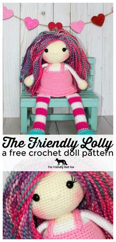 The Friendly Lolly is a sweet dolly designed to sit on a shelf, or a bed, or a bookcase... Or just to be carried around! She is 7 inches fro...