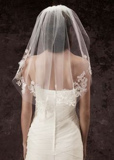 White by Vera Wang veil evokes an air of romance for your walk down the aisle. Single-tier cage veil with appliqued lace and three-dimensional floral detailing. Veil measures 28 in length and 50 in width. Available in stores and online. Ivory Wedding Veils, Lace Veils, Lace Weddings, Wedding Lace, Hair Wedding, Wedding Attire, Wedding Dresses, Vera Wang Wedding, Short Veil