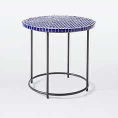 Mosaic Tiled Side Table - Blue Penny Top + Metal Base | west elm                                                                                                                                                                                 More