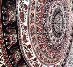 Elephant Hippie Boho Wall Tapestries Mandala by TheNanoDesigns