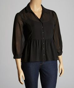 Love this Black Button-Up Peplum Top - Plus by C.O.C. on #zulily! #zulilyfinds