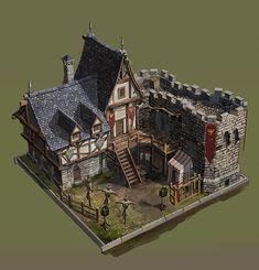 Fantasy Town, Fantasy Castle, Fantasy House, Medieval Fantasy, Minecraft Architecture, Architecture Old, Classical Architecture, Medieval Houses, Medieval Town