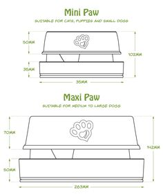 Bowls come in 2 sizes. Mini and Maxi Paw. Mini Paw for Cats, Small Dogs and Maxi for Large dogs. Large Dogs, Small Dogs, Pet Products, Bowls, Puppies, Pets, Mini, Serving Bowls, Big Dogs