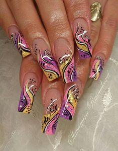Pretty nail art idea for summer long nails. Beautiful Nail Designs, Cute Nail Designs, Acrylic Nail Designs, Toe Designs, Fingernail Designs, Fancy Nails, Cute Nails, My Nails, Pretty Nail Art