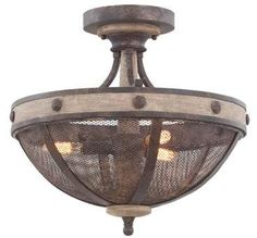 The Coronado 3 Light Semi-Flush Ceiling Light is made of Hand Wrought Iron and is finished in Florence Gold, with a Solid Wood Accent. Gold Ceiling Light, Semi Flush Ceiling Lights, Flush Mount Lighting, Ceiling Light Fixtures, Pendant Lighting, Industrial Lighting, Florence, Candelabra Bulbs, Metal Mesh