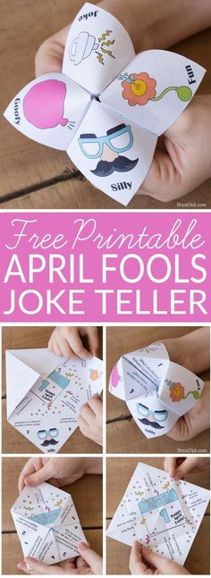 April Fools Jokes for Kids: Mixed Up Joke Teller - mixed up jokes and answers will have your kid laughing this April Fools Day | Aprils fools day prank for kids | fortune teller | cootie catcher | chatterbox | #joketeller #aprilfoolsday #fortuneteller via @brendidblog