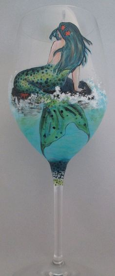 Mermaid and Whales Tail Wine Glass by cassidy808.