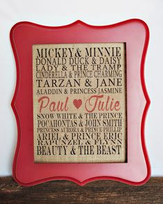 This personalized fairy tale love burlap design is great for gift giving for any occasion such as; Valentines Day, wedding, anniversary, bridesmaids, birthday or housewarming and of course for your own home to add a touch of warmth and personality. These fit in any standard 8x10 frame (not included). Thank you  LOVE Burlap Wall Hanging/Valentine Wall Art/burlap print/burlap art/anniversary gift /home decor/valentine decor/housewarming/wedding gift  Fram...