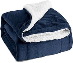 "Amazon.com: Bedsure Sherpa Throw Blanket Navy Blue Twin Size Reversible Fuzzy Bed Blankets Microfiber All Seasons Luxury Fluffy Blanket for Bed or Couch 60""x80"" by: Home & Kitchen"