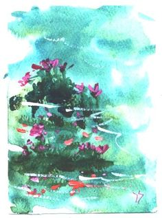 Koi In Pond aceo floral painting by Jim Smeltz by jimsmeltzgallery, $10.00