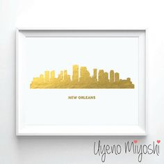 New Orleans Skyline Gold Foil Print Gold Print Map by UyenoMiyoshi